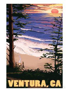 Ventura, California - Surfing Sunset Art Print