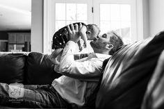Natural Light Newborn Portraits - Father & Son | Angelina M. Photography, LLC