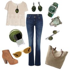 Green accents by parnett1963 on Polyvore featuring polyvore fashion style MANGO Lee Bamboo Independent Reign David Yurman Bulova Be-Jewelled Goldmajor Ray-Ban Jin Soon Butter London