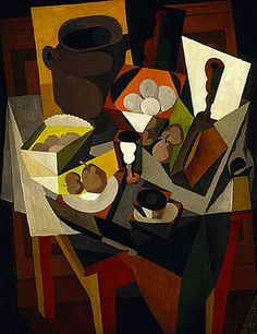 Naturaleza Muerta con pan y Fruta (Still Life with Bread and Fruit) by Diego Rivera, oil on canvas, genre: Cubism, 1917 Diego Rivera Art, Diego Rivera Frida Kahlo, Frida And Diego, Harlem Renaissance, Picasso, Georges Braque, Mexican Artists, Still Life Art, Art For Art Sake