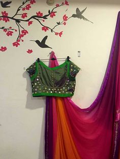 shaded chiffon saree  with with mirror work blouse                                                                                                                                                                                 More