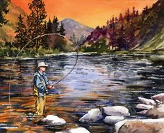 Sunset Mountain Fly Fishing watercolor. LARGE GICLEE by baylesdesign on Etsy, $25.00