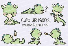 Premie Vector Clipart - Kawaii Dragon - schattige Baby Dragons Clipart Set - hoge kwaliteit vectoren - Instant Download - Kawaii Clipart