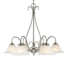 Millennium Lighting 27-in 6-Light Satin nickel Vintage Alabaster Glass Shaded Chandelier