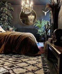 We're completely in love with this snug & stylish bedroom, featuring our Berber rug. The abundance of plants, dark walls & velvet… Moody Bedroom, Dark Paint Colors, Home Bedroom, Bedroom Interior, Luxurious Bedrooms, Stylish Bedroom, Apartment Decor, Dark Interiors, Eclectic Bedroom