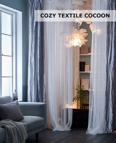 Need a space to relax? Create a private textile cocoon that fits into the living room & can be easily stored away whenever you want the whole room open!