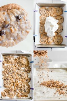 steps for making an ice box cake - Substitute Oatmeal Scotchies or chocolate chip cookies Ice Cream Treats, Ice Cream Desserts, Frozen Desserts, Easy Desserts, Delicious Desserts, Frozen Treats, Oatmeal Raisin Cookies, Chocolate Chip Cookies, Oatmeal Scotchies
