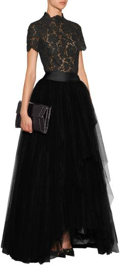 A frothy tulle overlay lends an exquisitely feminine look to this pretty mid-length skirt from Alberta Ferretti #Stylebop