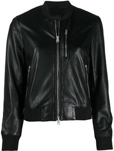 All Saints Clothing, Black Leather Bomber Jacket, Zip Ups, Women Wear, Clothes For Women, Long Sleeve, Sleeves, Jackets, Fashion Design