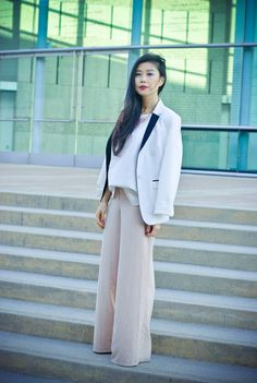 Chic of the Week: Jenny's Blush-Worthy Style Masculine silhouettes with soft feminine colors make for a chic workplace outfit!