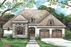 Plan Three Styles to Choose From This petite European house plan has elegant arched windows and a lovely hip roof, with just enough Ranch House Plans, Dream House Plans, Small House Plans, Small House Exteriors, Stone Exterior Houses, French Country House Plans, European House Plans, Courtyard House Plans, Traditional House Plans