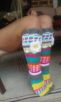 Ravelry: Free Spirit Knee High Slipper Socks pattern by Clarissa Paige Dove Crochet Socks Pattern, Crochet Shoes, Crochet Slippers, Knitting Patterns Free, Crochet Clothes, Crochet Patterns, Free Pattern, Crochet Ideas, Crochet Crafts