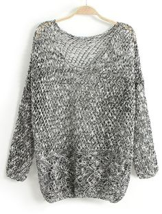 Grey Long Sleeve Hollow Loose Pullover Sweater - Sheinside.com