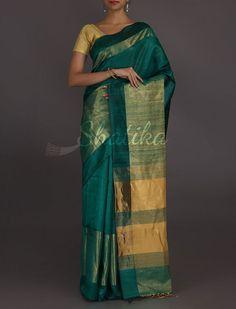 Ruchi Peacock Blue Broad Gold Border #MatkaSilkSaree