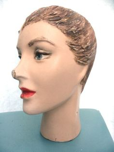 CLEARANCE ITEM Vintage mannequin head 1950s 50s antique bust with French cut for hat displays.