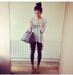 Long sleeve gray tee with leggings and boots. Or skinnies