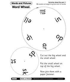 FREE - S Clusters used at the Beginning and Ending of Words. These word wheels can be pinned on top of each other to create words with S Clusters.