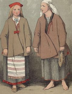 A peasant woman and girl from Ruokolahti, Finland What are lapti called in Finnish?
