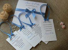 Piękne tłoczone zaproszenia, papier tkanina lniana, różne kolory wstążeczek.