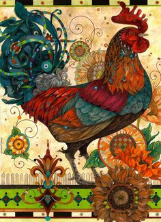This artist uses a number of colors in his painting. His Morning Strut - an original oil painting by David Galchutt Art And Illustration, Watercolor Illustration, Arte Do Galo, Sunflower Canvas, Rooster Art, Rooster Painting, Art Populaire, Chicken Art, Chickens And Roosters