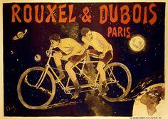 Rouxel & Dubois Vintage French Tandem Bicycle Poster Print by Ferdinand Lunel Images Vintage, Art Vintage, Vintage Posters, Vintage Signs, Tandem Bicycle, Bicycle Art, Paris France, Art Nouveau, Antique Bicycles