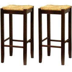 "Rush Seat Bar Stools 29"", Set of 2, Antique Walnut - Walmart.com"