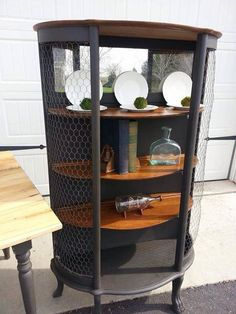 VintageEstate Curio Cabinet | Classy Chicken Wire Furniture Makeover | Carver Junk Company