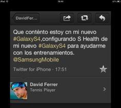 David Ferrer está muy contento con su nuevo Samsung... y lo demuestra desde su iPhone