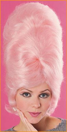 pink beehive - I think I would have fucking LOST MY MIND as a kid if I'd seen this! One time one of my mom's lady friends had multicolored glitter in HER beehive for Christmas--I'll never forget it!