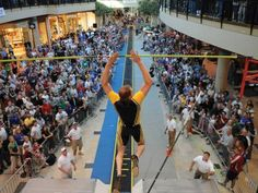 The poll vaulting events are held in a mall.