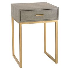 This single drawer Roxanna End Table is hand covered in faux shagreen. The open-sided frame means that this useful storage space is not overbearing within a space.