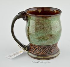Green Glaze with Brown Band |  Dirty Dog Pottery