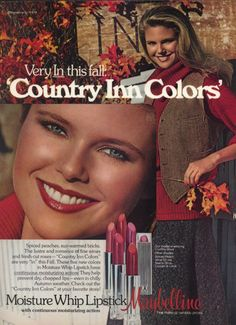 Christy Brinkley for Moisture Whip Lipstick by Maybelline, 1978 Vintage Makeup Ads, Retro Makeup, Vintage Beauty, Vintage Ads, Vintage Prints, Vintage Style, 70s Style, Vintage Clothing, Retro Advertising