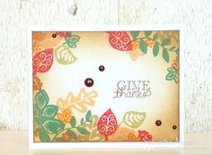 Give thanks Fall Leaf card by Samanth Mann for Newton's Nook Designs | Falling into Autumn Stamp Set