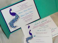 Peacock Wedding invitation Purple and Turquoise