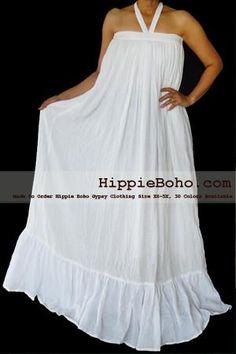 No.021 - Size XS-5X Hippie Boho Clothing Gypsy White Plus Size Strap Summer Maxi Dress, S,M,L,1X,2X,3X,4X,5X Dress