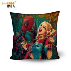 HUGSIDEA Funny Harley Quinn and Deadpool Decorative Cushion Covers for Sofa Car Home Creative Cotton Throw Pillow Case 50*50cm