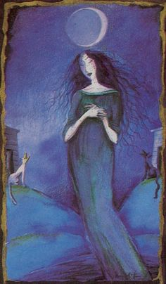 The Moon - Katalin Szegedi Tarot She gets me every time Wiccan, Magick, Tarot Cards Major Arcana, Divine Tarot, Le Tarot, The Moon Tarot, Tarot Card Decks, Tarot Readers, Moon Art