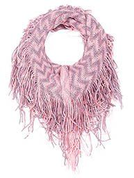 Pink & Gray Knit Chevron Cozy Winter Infinity Scarf