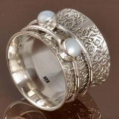Hot Selling 925 SOLID STERLING SILVER AMAZING Pearl RING 7.15g DJR9943 SZ-5.5…