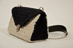 Crochet Color Block Beige Black Shoulder Bag, Women Minimalist Shoulder Bag, Cocktail Party Purse, Gift For Her, Gift For Mum. Gifts For Mum, Sister Gifts, Black Shoulder Bag, Knit Or Crochet, Line Design, One Pic, Cocktail, Minimalist, Trending Outfits