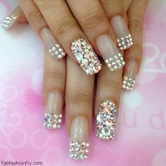 Fabulous nails with glitter rhinestones inspiration