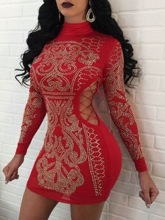 Hot Stamping Lace-Up Cut Out Bodycon Party Dress Fashion Trends 82967a0a38