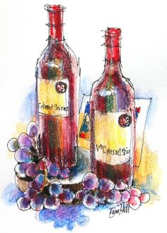 Wine & food Still life for Sketching Classes. Line with water soluble wax crayons.