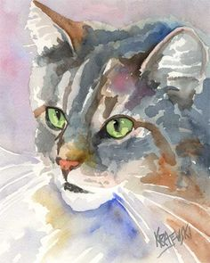 Maine Coon Cat Art Print of Original Watercolor Painting 8x10. $12.50, via Etsy.