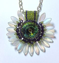 Purple-Green Sunflower1 Emerald swarovski rivoli and czech dagger beads by Pat Reisner beautiful jewelry style for spring