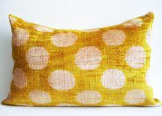 Sukan / SALE - Soft Hand Woven - Silk Velvet Ikat Pillow Cover - 15x23 inch…