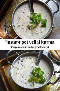 INSTANT POT VELLAI KURMA - Vegan south Indian style coconut gravy (korma) with vegetables and aromatic spices to go with your flatbreads and rice. Best Indian Recipes, Best Vegetarian Recipes, Healthy Dinner Recipes, Breakfast Recipes, Vegetarian Cooking, Curry Recipes, Salad Recipes, Kurma Recipe, Deep Fried Recipes