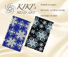 Peyote pen cover patterns White flakes snowflakes peyote
