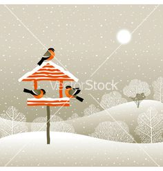Birdfeeder in winter forest vector - by iatsun on VectorStock®